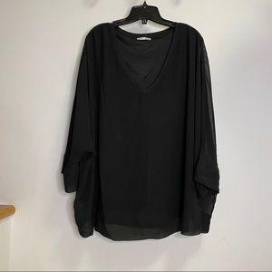 NEW Dex Black Plus Size Sheer Blouse Size 2X
